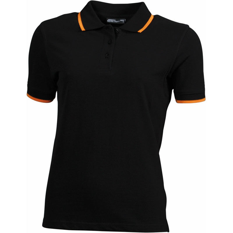noir-orange - polo contraste femme design