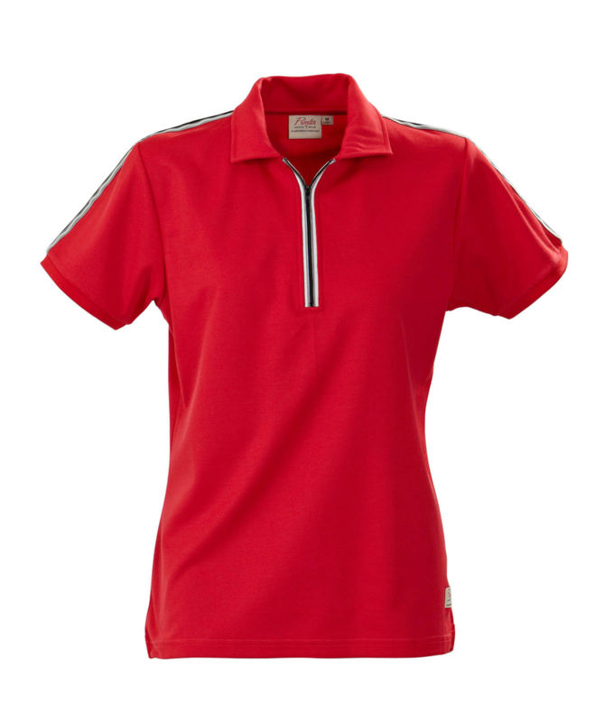 rouge - polo femme zip