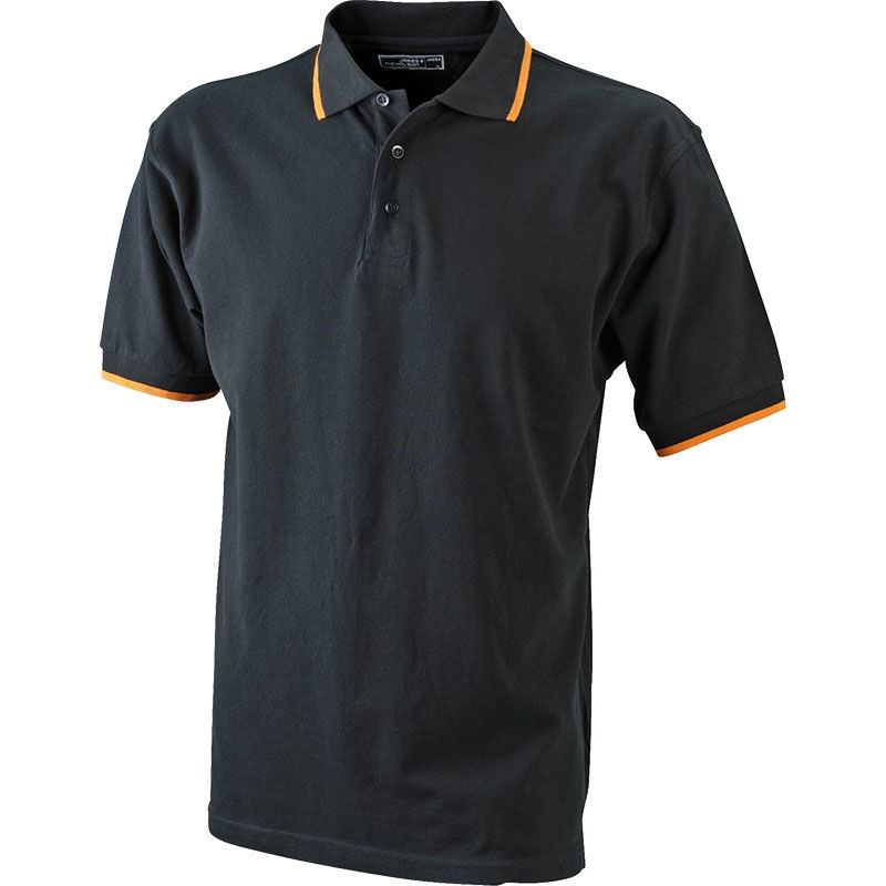 Polo-homme-matiere-qualite-noir-orange